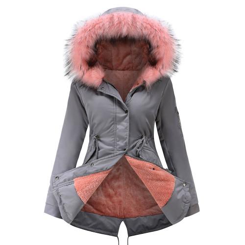 Gray Fur Collar Drawstring Waist Warm Hooded Parka Coat TQK280130-11