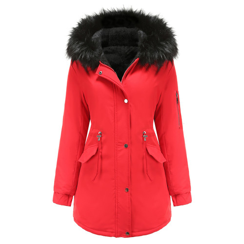 Red Fur Collar Drawstring Waist Warm Hooded Parka Coat TQK280130-3