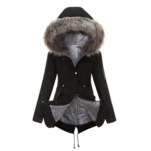 Black Fur Collar Drawstring Waist Warm Hooded Parka Coat TQK280130-2A