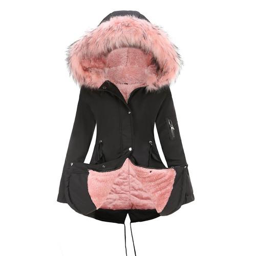 Black Pink Fur Collar Drawstring Waist Warm Hooded Parka Coat TQK280130-2C