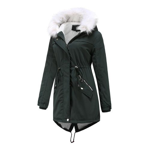 Dark Green Fur Collar Warm Hooded Parka Coat TQK280129-36