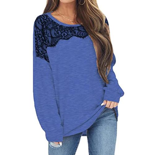 Blue Splice Lace Bat Sleeve Pullover Tops TQK210843-5