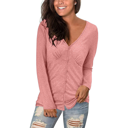Pink V Neck Pleated Long Sleeve Tops TQK210842-10