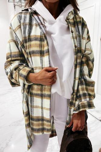 Khaki Plaid Lapel Hem Slit Loose Coat LC8511703-16