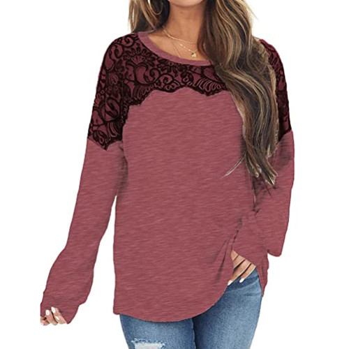 Red Splice Lace Bat Sleeve Pullover Tops TQK210843-3
