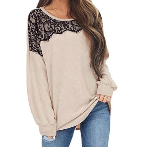 Apricot Splice Lace Bat Sleeve Pullover Tops TQK210843-18