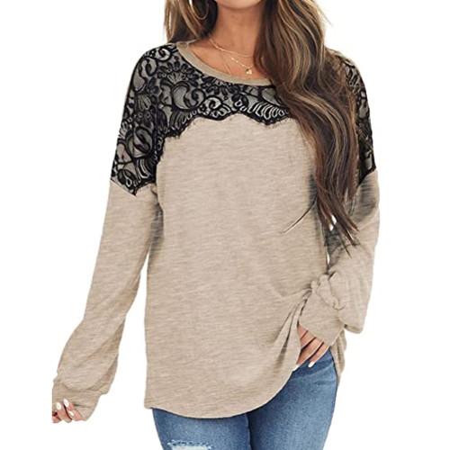 Khaki Splice Lace Bat Sleeve Pullover Tops TQK210843-21