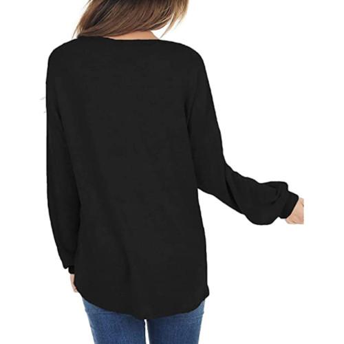Black Splice Lace Bat Sleeve Pullover Tops TQK210843-2