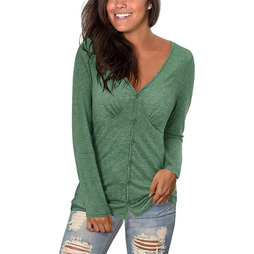 Green V Neck Pleated Long Sleeve Tops TQK210842-9
