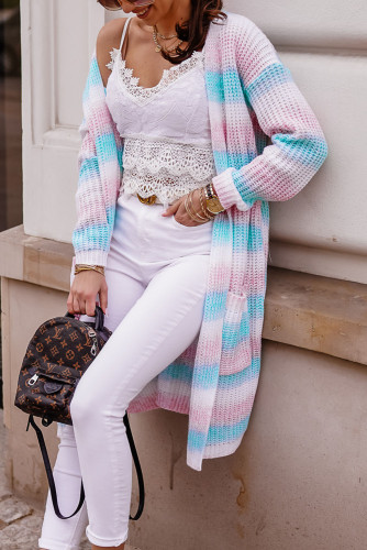 Pink Ombre Duster Cardigan with Pockets LC271422-10