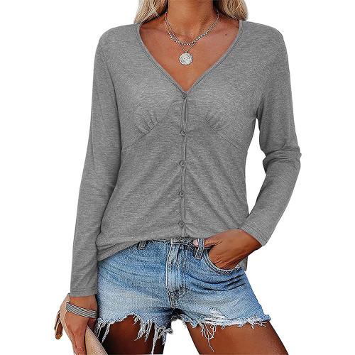 Gray V Neck Pleated Long Sleeve Tops TQK210842-11