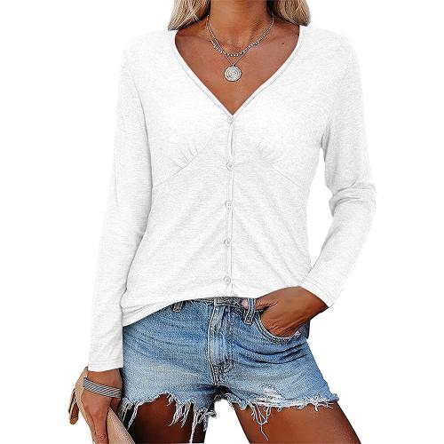 White V Neck Pleated Long Sleeve Tops TQK210842-1