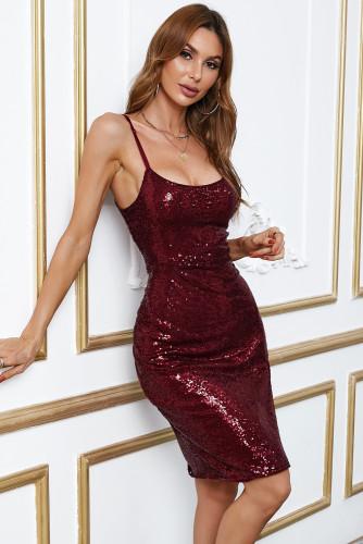 Wine Red Sequin Side Slit Cami Dress LC617422-3