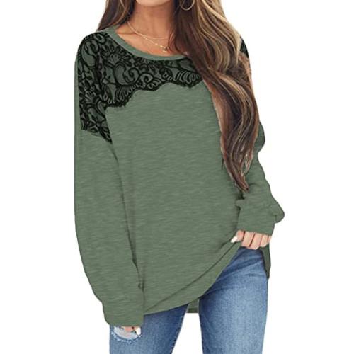 Grass Green Splice Lace Bat Sleeve Pullover Tops TQK210843-61