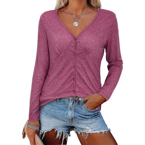 Rosy V Neck Pleated Long Sleeve Tops TQK210842-6