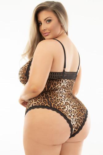 Leopard Print Lace Splicing V Neck Plus Size Bodysuit LC32503-20