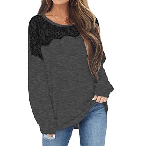 Dark Gray Splice Lace Bat Sleeve Pullover Tops TQK210843-26