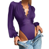 Purple Deep V Neck Lace Detail Long Sleeve Bodysuit TQK550271-8