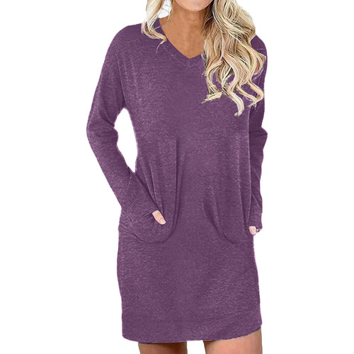 Purple Red Cotton Blend V Neck Pocket Loose Mini Dress TQK310686-32