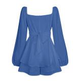 Blue Ruffle Hem Lantern Long Sleeve Romper TQK550269-5