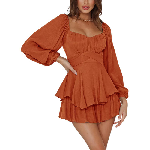 Orange Ruffle Hem Lantern Long Sleeve Romper TQK550269-14
