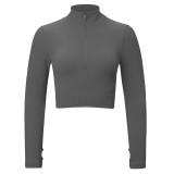 Gray Seamless Stand Collar Jacket with Pant Yoga Set TQK710415-11