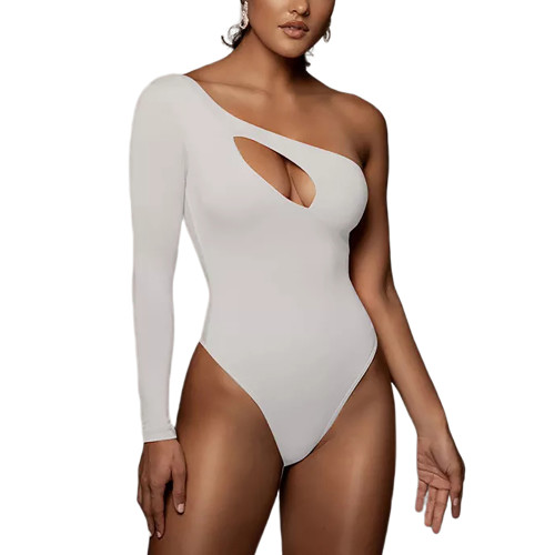 White Hollow Out One Shoulder Long Sleeve Bodysuit TQK550270-1
