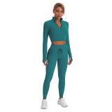 Aquamarine Seamless Stand Collar Jacket with Pant Yoga Set TQK710415-45