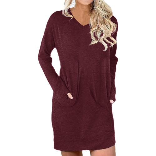 Wine Red Cotton Blend V Neck Pocket Loose Mini Dress TQK310686-23