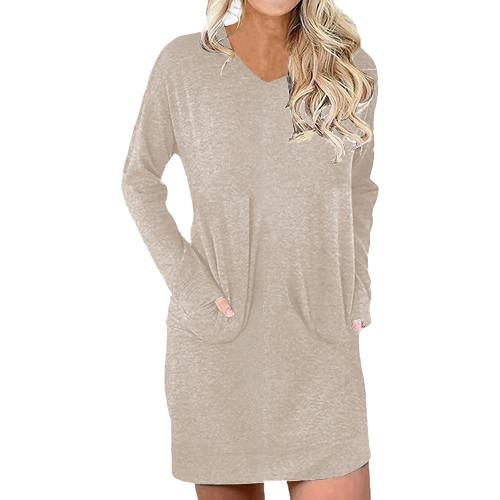 Apricot Cotton Blend V Neck Pocket Loose Mini Dress TQK310686-18