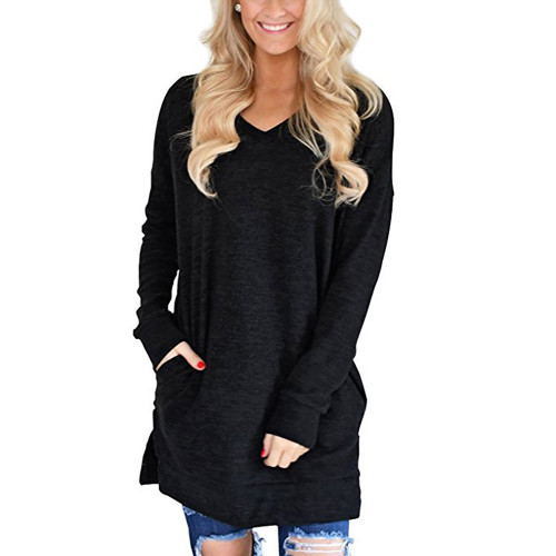 Black Cotton Blend V Neck Pocket Loose Mini Dress TQK310686-2