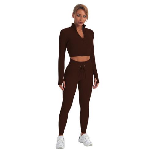 Coffee Seamless Stand Collar Jacket with Pant Yoga Set TQK710415-15