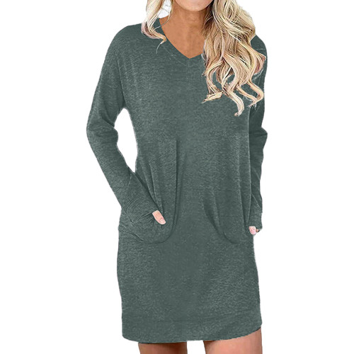 Green Cotton Blend V Neck Pocket Loose Mini Dress TQK310686-9