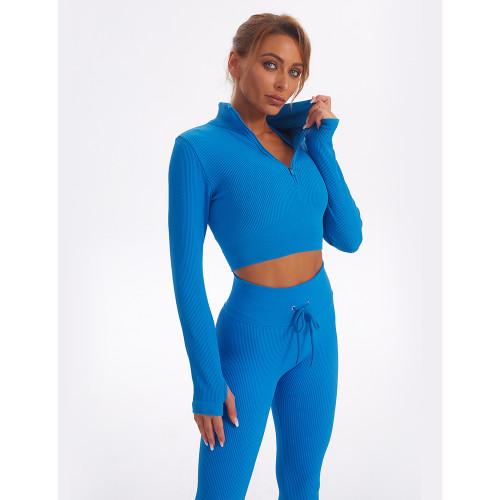 Blue Seamless Stand Collar Jacket with Pant Yoga Set TQK710415-5