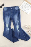 Plus Size Distressed Bell Bottom Jeans LC78932-5