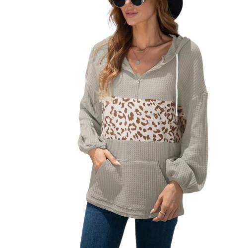 Mignonette Splice Leopard Kangaroo Pocket Hoodie TQK230345-50