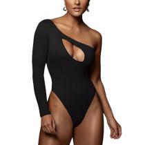 Black Hollow Out One Shoulder Long Sleeve Bodysuit TQK550270-2