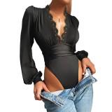 Black Deep V Neck Lace Detail Long Sleeve Bodysuit TQK550271-2