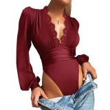 Wine Red Deep V Neck Lace Detail Long Sleeve Bodysuit TQK550271-23