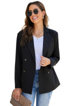 Black Turn-Down Collar Buttons Blazer with Pockets LC852183-2