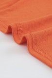 Orange Plaid Print Splicing V Neck Long Sleeve Plus Size Top LC2519473-14
