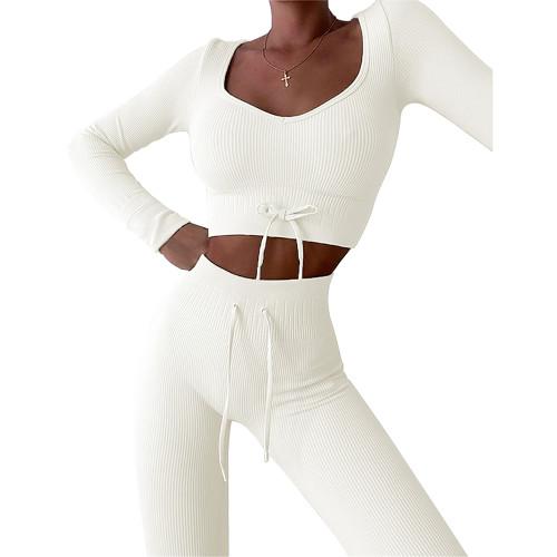 White Knitted Seamless Long Sleeve Yoga Set TQK710414-1