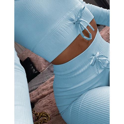 Light Blue Knitted Seamless Long Sleeve Yoga Set TQK710414-30