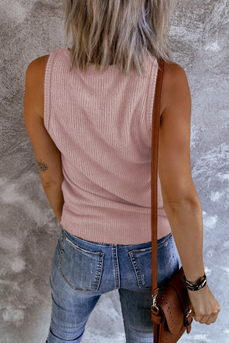 Pink Ribbed Tank Top LC256353-10