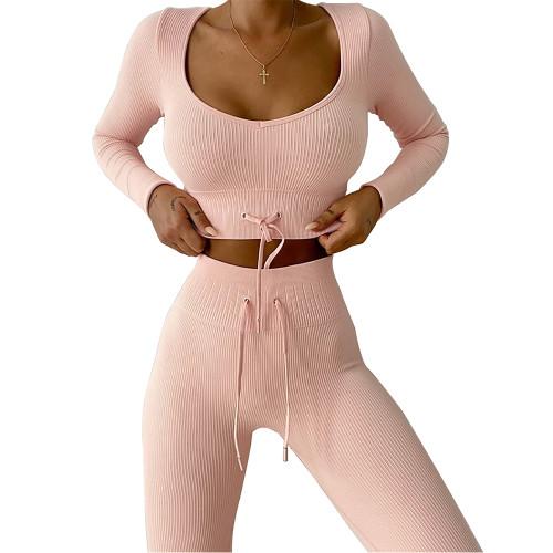 Orange Knitted Seamless Long Sleeve Yoga Set TQK710414-14