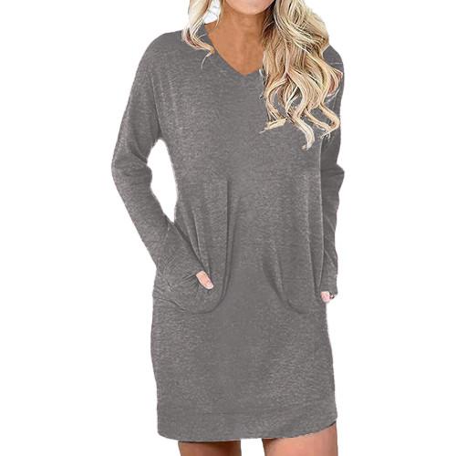 Gray Cotton Blend V Neck Pocket Loose Mini Dress TQK310686-11