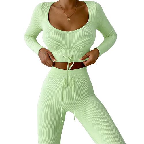 Light Green Knitted Seamless Long Sleeve Yoga Set TQK710414-28