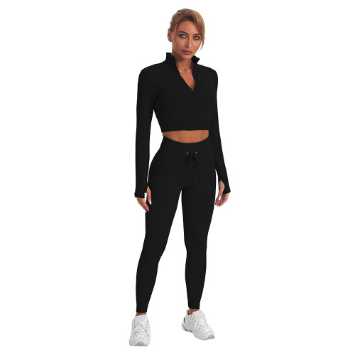 Black Seamless Stand Collar Jacket with Pant Yoga Set TQK710415-2