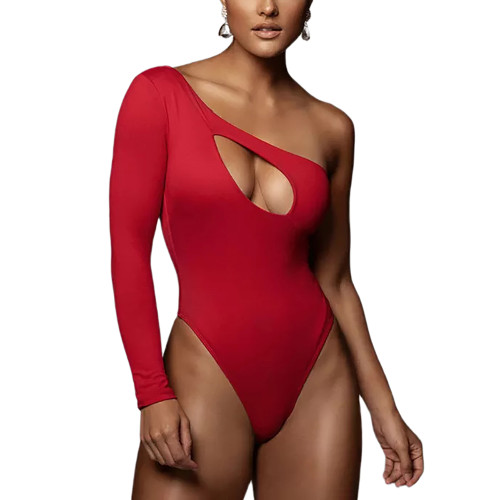 Red Hollow Out One Shoulder Long Sleeve Bodysuit TQK550270-3