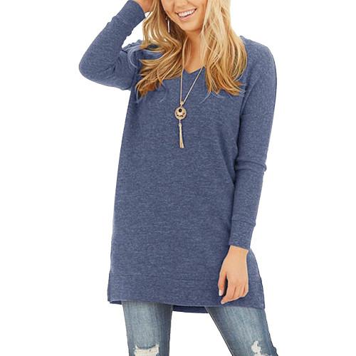 Blue Cotton Blend V Neck Pocket Loose Mini Dress TQK310686-5